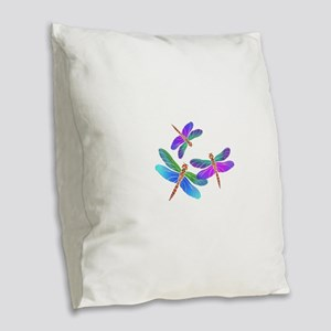 Dive Bombing Iridescent Dragon Burlap Throw Pillow