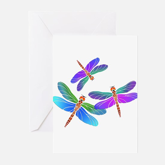 Dive Bombing Iridescent Dragonflies Greeting Cards