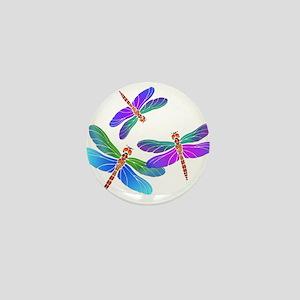 Dive Bombing Iridescent Dragonflies Mini Button
