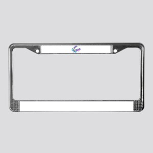 Dive Bombing Iridescent Dragon License Plate Frame