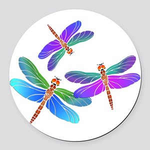 Dive Bombing Iridescent Dragonfli Round Car Magnet