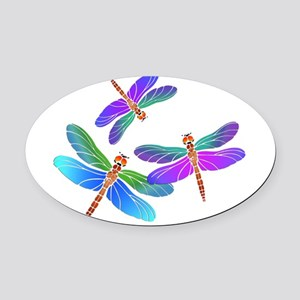 Dive Bombing Iridescent Dragonflie Oval Car Magnet