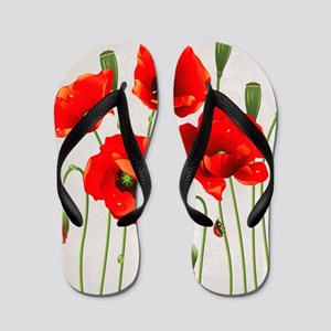 Painted Red Poppies Flip Flops