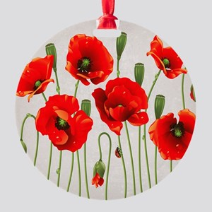 Painted Red Poppies Round Ornament