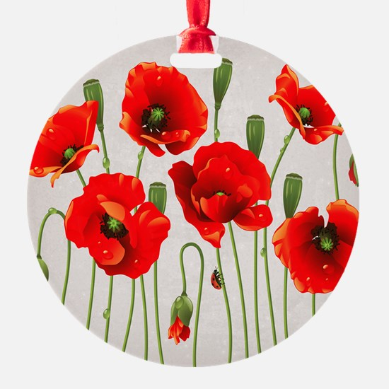 Painted Red Poppies Ornament