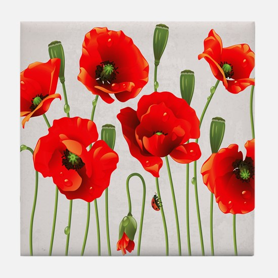 Painted Red Poppies Tile Coaster