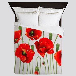 Painted Red Poppies Queen Duvet