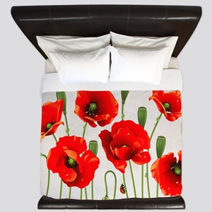 Painted Red Poppies King Duvet