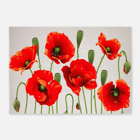 Painted Red Poppies 5 X7 Area Rug