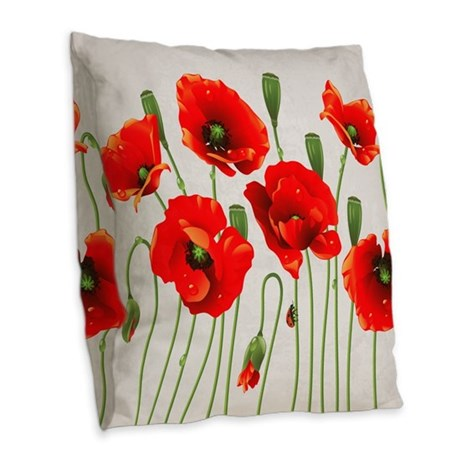 Painted Red Poppies Burlap Throw Pillow