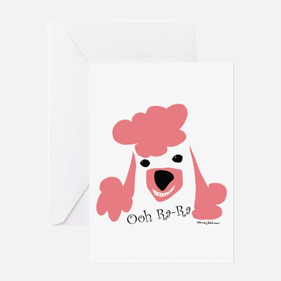 Pink Poodle Greeting Cards