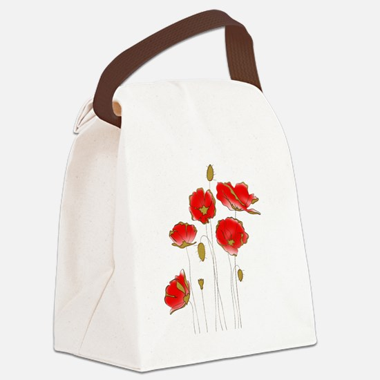 Unique Red poppy Canvas Lunch Bag