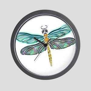 Glowing Stained Glass and Abalone Shell Wall Clock