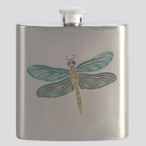 Glowing Stained Glass and Abalone Shell Drag Flask