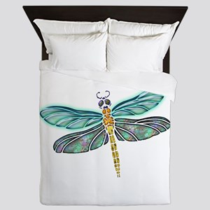 Glowing Stained Glass and Abalone Shel Queen Duvet