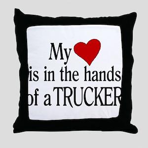 My Heart in the Hands Trucker Throw Pillow