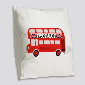 London Double Decker Burlap Throw Pillow
