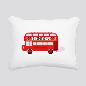 London Double Decker Rectangular Canvas Pillow