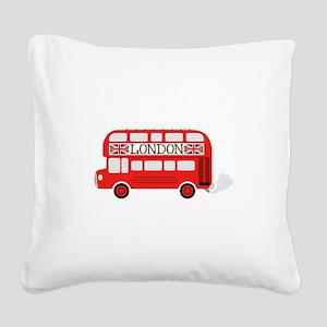 London Double Decker Square Canvas Pillow