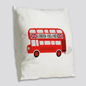 London England Burlap Throw Pillow