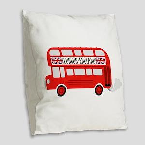 London England Burlap Throw Pillow