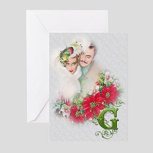 Monogram G Christmas Couple 20 Greeting Cards