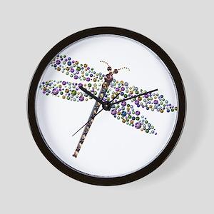 Pointilist Gem Studded Dragon Fly Wall Clock