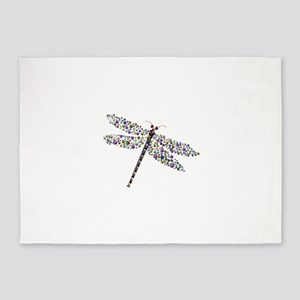 Pointilist Gem Studded Dragon Fly 5'x7'Area Rug
