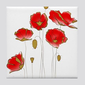 Whimsical Poppies in Red and Gold Tile Coaster