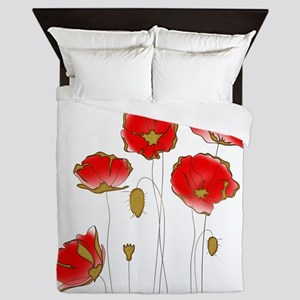 Whimsical Poppies in Red and Gold Queen Duvet