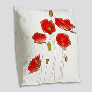 Whimsical Poppies in Red and G Burlap Throw Pillow