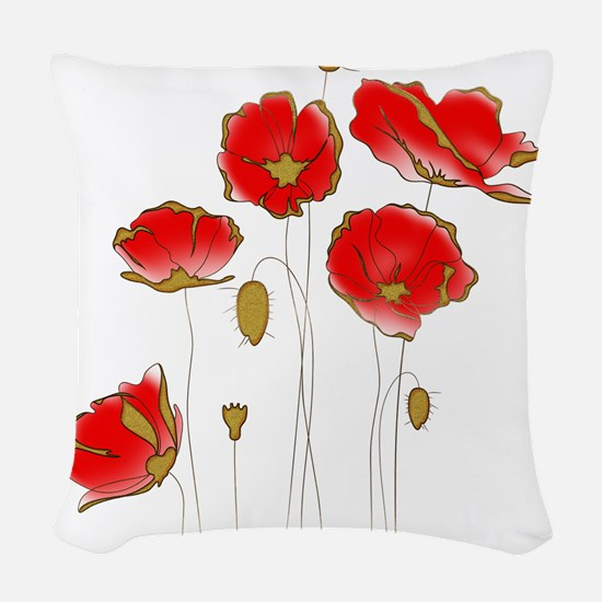Whimsical Poppies in Red and G Woven Throw Pillow