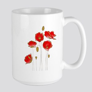 Whimsical Poppies in Red and Gold Mugs