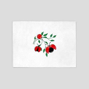 Delicate Ladybugs on Graceful Leave 5'x7'Area Rug
