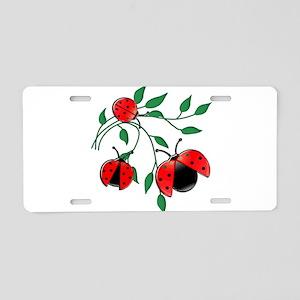 Delicate Ladybugs on Gracef Aluminum License Plate