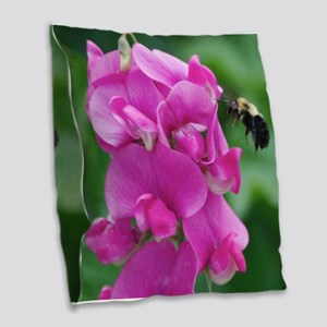 Sweet Pea with Bee Burlap Throw Pillow