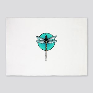 Graphic Dragonfly in Aqua Circle 5'x7'Area Rug