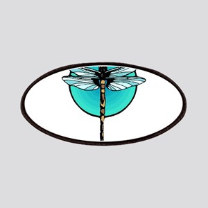 Graphic Dragonfly in Aqua Circle Patches
