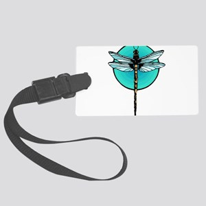 Graphic Dragonfly in Aqua Circle Large Luggage Tag