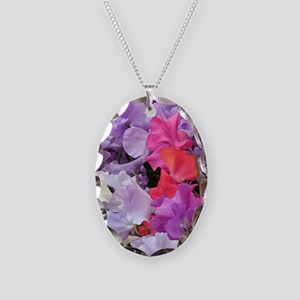 Sweet peas flowers in bloom Necklace Oval Charm