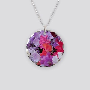 Sweet peas flowers in bloom Necklace Circle Charm