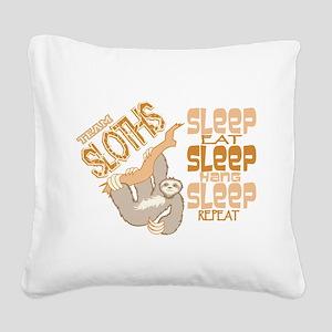 Sloth Sleep Eat Hang Square Canvas Pillow