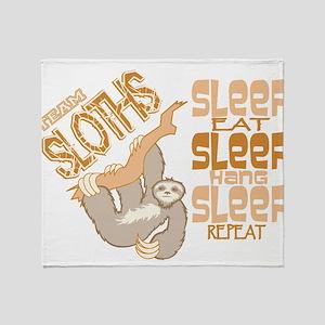 Sloth Sleep Eat Hang Throw Blanket