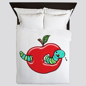 Apple and a Hungry Worm Queen Duvet