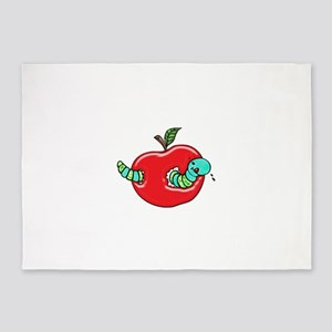Apple and a Hungry Worm 5'x7'Area Rug