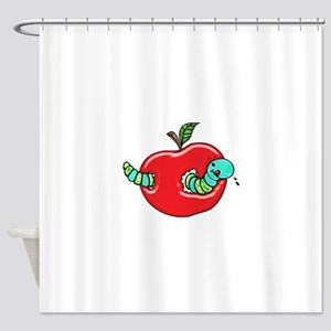 Apple and a Hungry Worm Shower Curtain