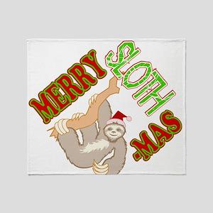 Sloth Merry Christmas Throw Blanket