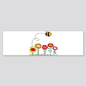 Bee Buzzing a Flower Garden Bumper Sticker