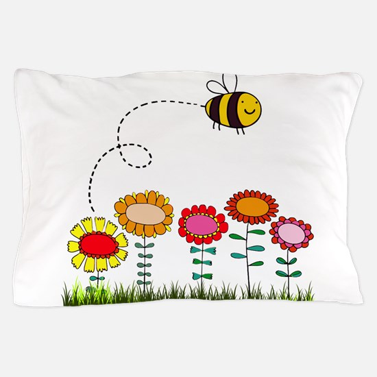 Bee Buzzing a Flower Garden Pillow Case