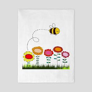 Bee Buzzing a Flower Garden Twin Duvet